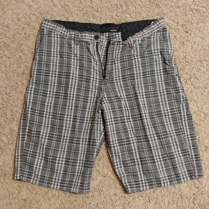 Hurley men's gray plaid shorts 34/35 soft cotton